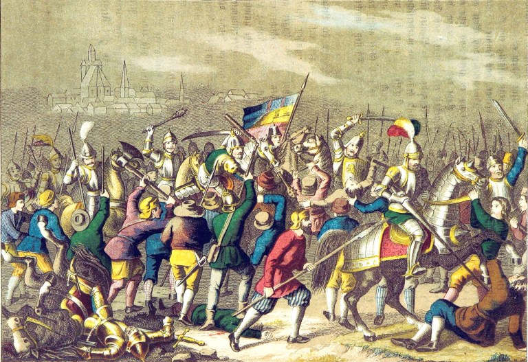 Peasants revolting against professional soldiers in the early 1500s